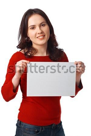 Fiatal nő tart üres óriásplakát portré aranyos Stock fotó © shyshka