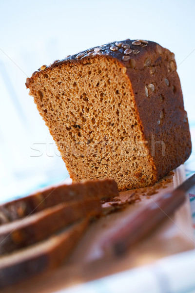 Egész gabona kenyér három szeletek tábla Stock fotó © shyshka