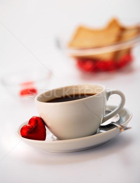 Café blanche tasse une chocolat alimentaire Photo stock © shyshka