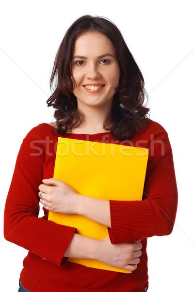 Lány citromsárga mappa fiatal női diák Stock fotó © shyshka