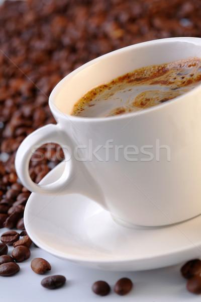 Tasse tasse de café café séance lit grains de café Photo stock © shyshka