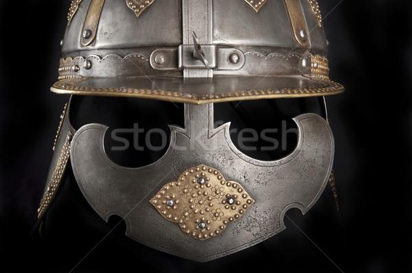 Demir kask ortaçağ şövalye ağır Stok fotoğraf © sibrikov