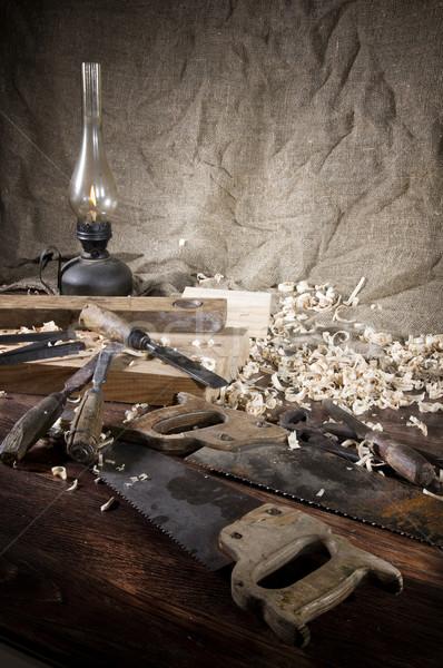 Lugar de trabajo carpintero madera poco herramientas textura Foto stock © sibrikov