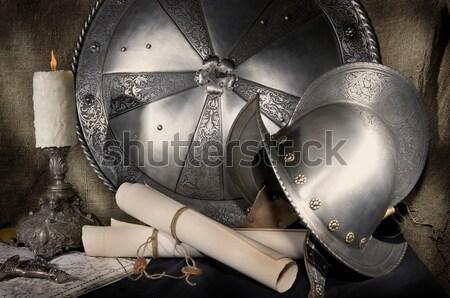 Pantser middeleeuwse ridder metaal bescherming soldaat Stockfoto © sibrikov