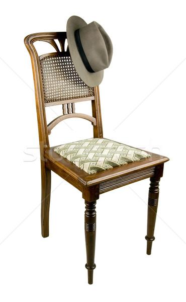 Edad silla sombrero gris color casa Foto stock © sibrikov