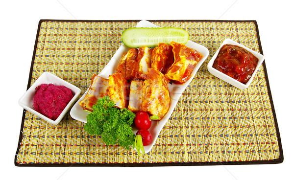 Et bulaşık lezzetli kahvaltı yağ yemek Stok fotoğraf © sibrikov