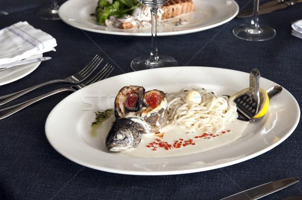 Restoran güzel dekore edilmiş tablo lezzetli gıda Stok fotoğraf © sibrikov