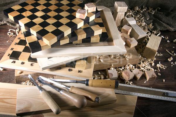 職場 大工 木材 ツール テクスチャ ストックフォト © sibrikov