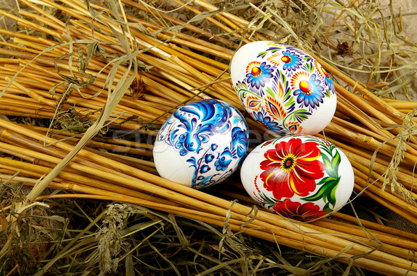Boyalı yumurta simge dini tatil Paskalya Stok fotoğraf © sibrikov