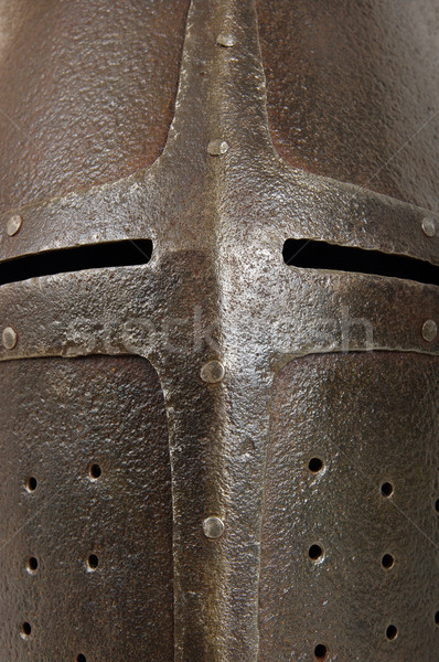 Ijzer helm middeleeuwse ridder zwaar oorlog Stockfoto © sibrikov