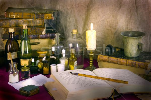 Natürmort eski kitaplar tıp bilim şişe Stok fotoğraf © sibrikov