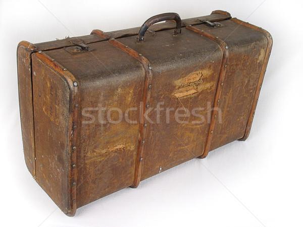 古い ブラウン スーツケース 光 袋 レトロな ストックフォト © sibrikov