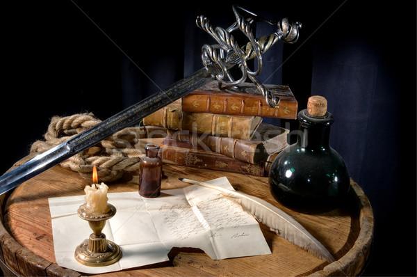 Сток-фото: натюрморт · письме · баррель · пер · бутылку · меч