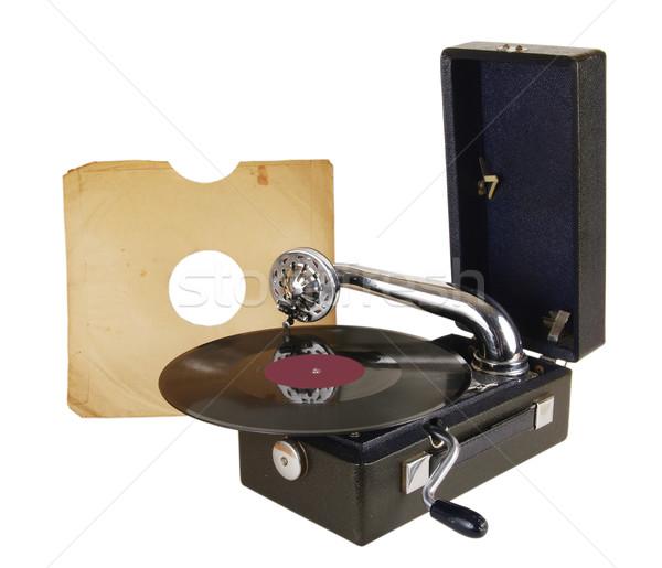 Vieux tourne-disque vinyle dossiers musique table Photo stock © sibrikov