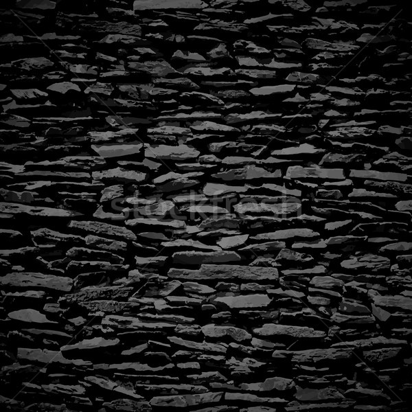 Stone wall, black relief texture with shadow Stock photo © sidmay