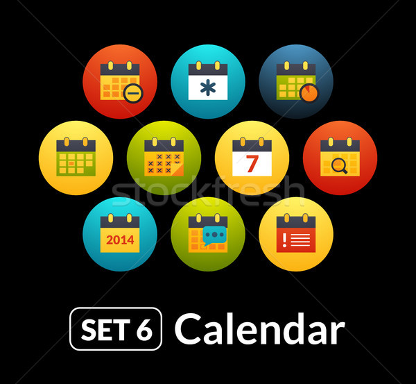Flat icons vector set 6 - calendar collection Stock photo © sidmay