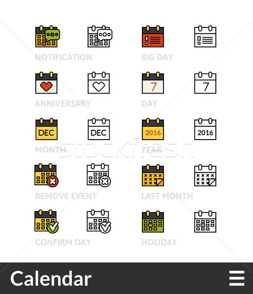 Fekete szín skicc ikonok vékony vonal Stock fotó © sidmay