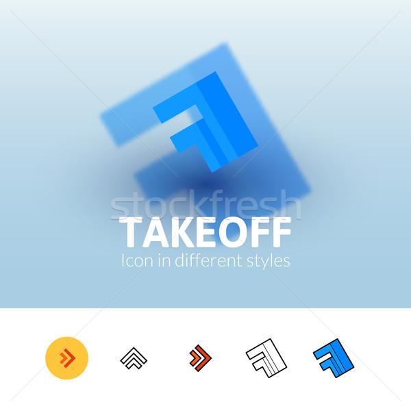 Felszállás ikon különböző stílus szín vektor Stock fotó © sidmay