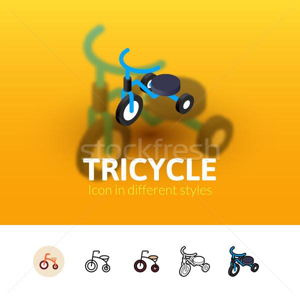Stok fotoğraf: üç · tekerlekli · bisiklet · ikon · farklı · stil · renk · vektör