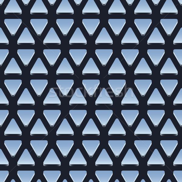 Stock photo: Seamless pattern of shiny metallic triangles