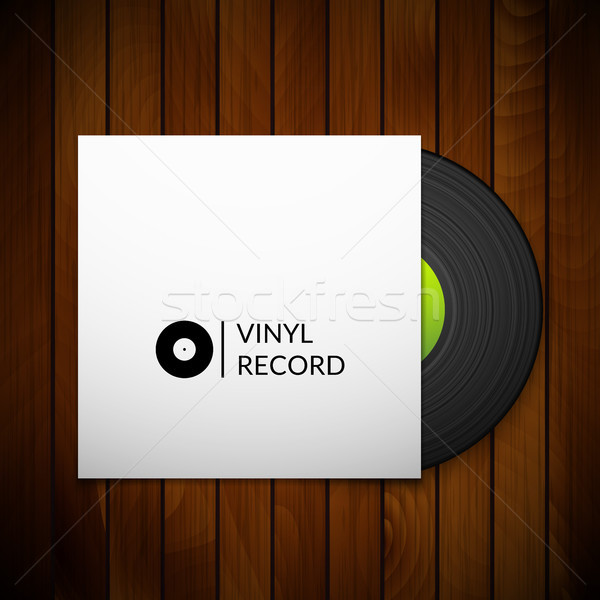 Black vintage vinyl record with blank cover case isolated on red wood texture background Stock photo © sidmay