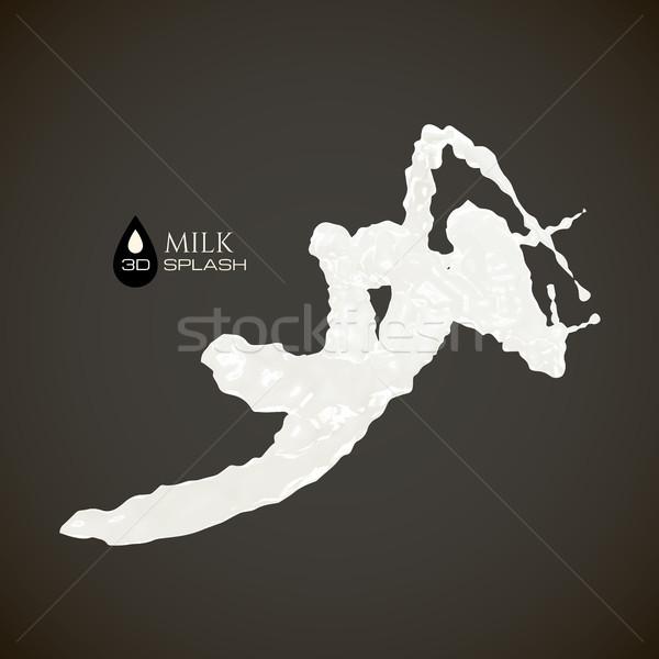 Milk 3D splash, isolated on black background Stock photo © sidmay