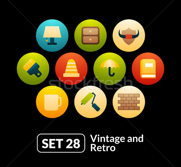 Iconos vector establecer vintage colección teléfono Foto stock © sidmay