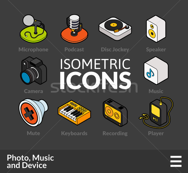 Isometric outline icons set 6 Stock photo © sidmay