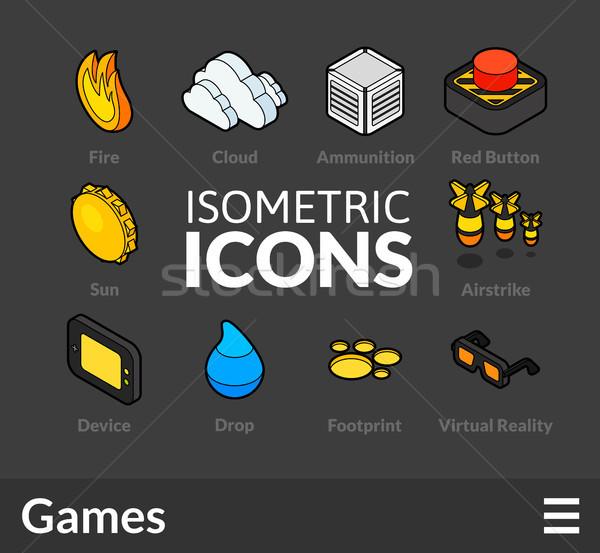 Stockfoto: Isometrische · schets · 13 · iconen · 3D
