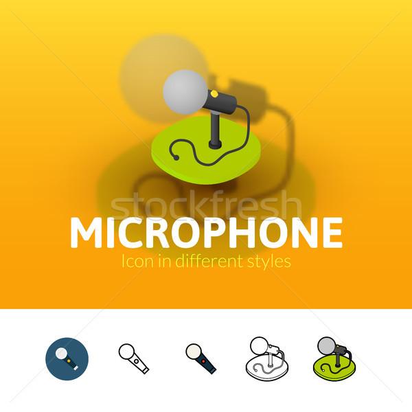микрофона икона различный стиль цвета вектора Сток-фото © sidmay
