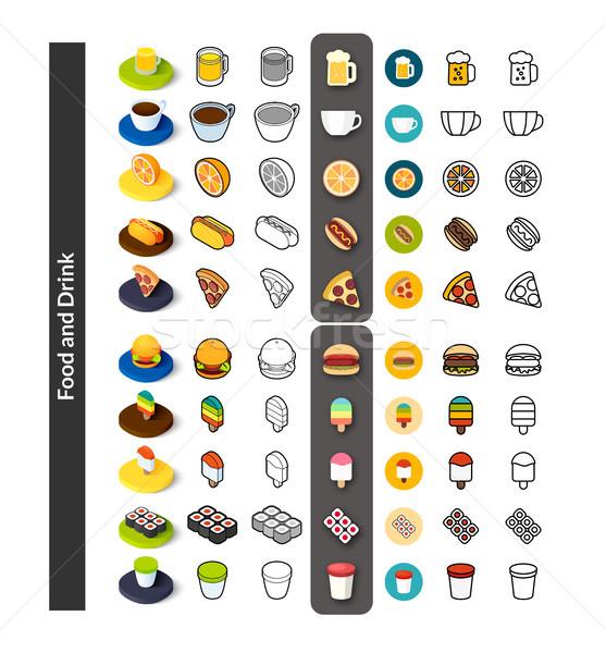Zestaw ikona inny stylu izometryczny kolorowy Zdjęcia stock © sidmay