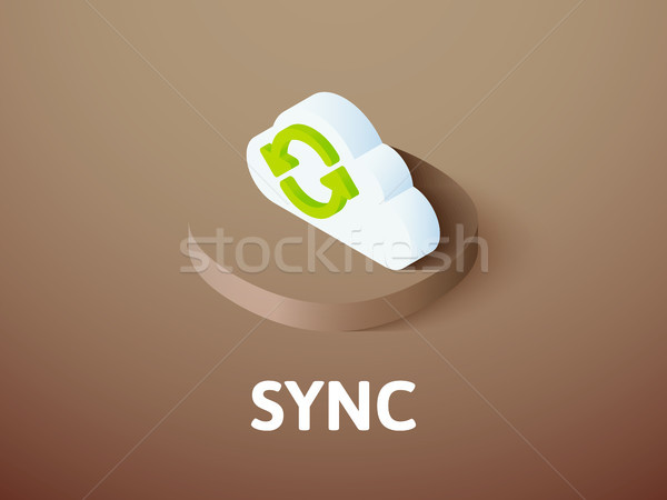 Sync isometric icon, isolated on color background Stock photo © sidmay