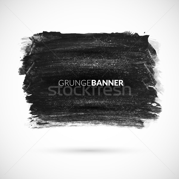Black watercolor ink banner with grunge texture retro effect Stock photo © sidmay