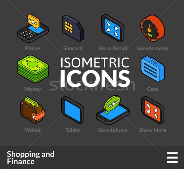 изометрический 12 иконки 3D Сток-фото © sidmay