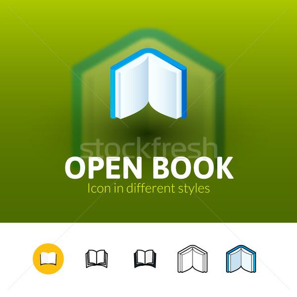 Open boek icon verschillend stijl kleur vector Stockfoto © sidmay