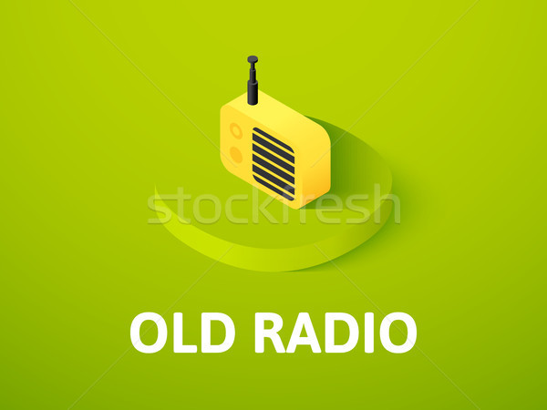 Old radio isometric icon, isolated on color background Stock photo © sidmay