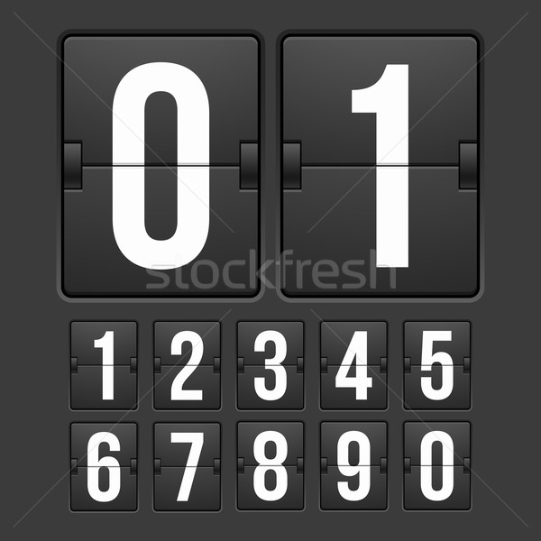 Countdown timer, white color mechanical scoreboard Stock photo © sidmay