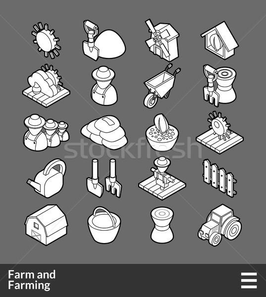 Foto stock: Isométrica · ícones · 3D · pictogramas