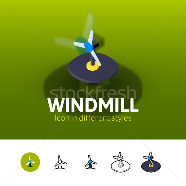 Windmill icon in different style Stock photo © sidmay