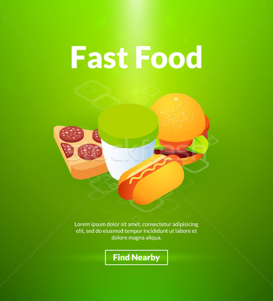 Fast food poster of isometric color design Stock photo © sidmay