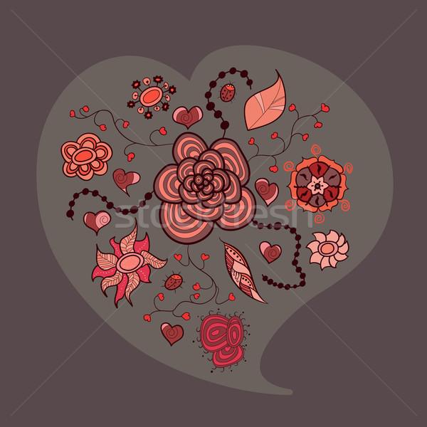 Stockfoto: Hart · bloemen · bladeren · insecten · verschillend · liefde