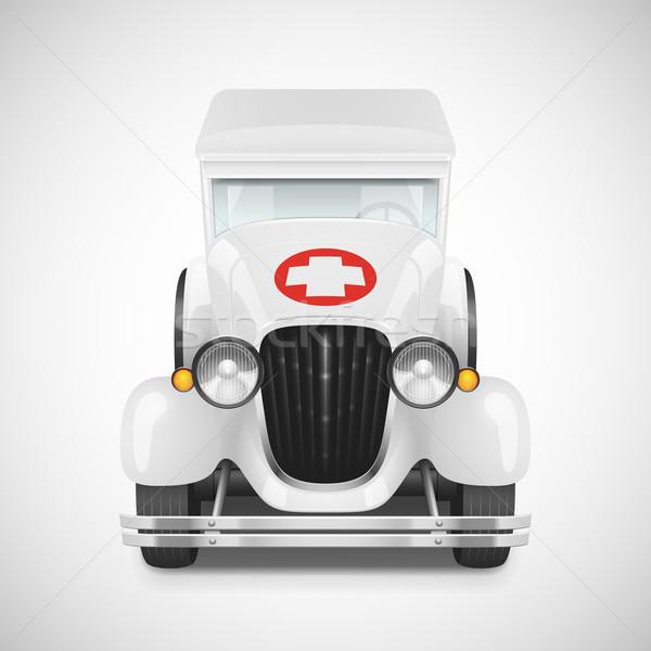 Photo stock: Rétro · voiture · icône · blanche · ambulance · route