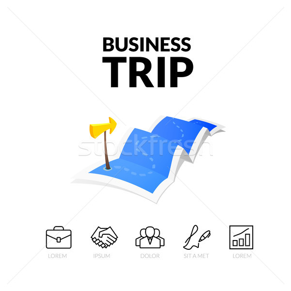 Business trip tour concept logo, long route in travel map with guide marker Stock photo © sidmay