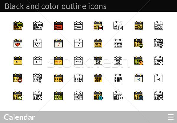 Preto cor ícones fino linha Foto stock © sidmay