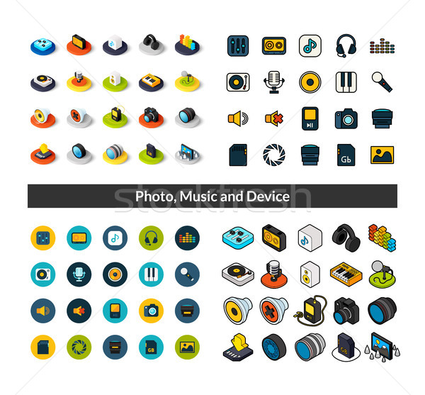 Set of icons in different style - isometric flat and otline, colored and black versions Stock photo © sidmay
