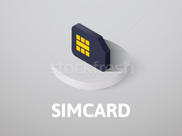 Simcard isometric icon, isolated on color background Stock photo © sidmay
