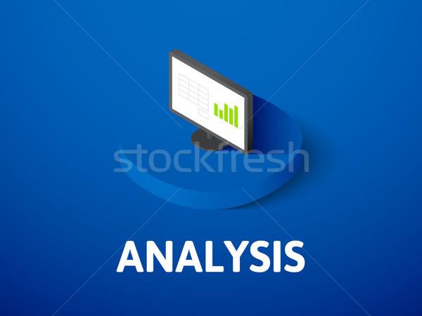 Stockfoto: Analyse · isometrische · icon · geïsoleerd · kleur · vector