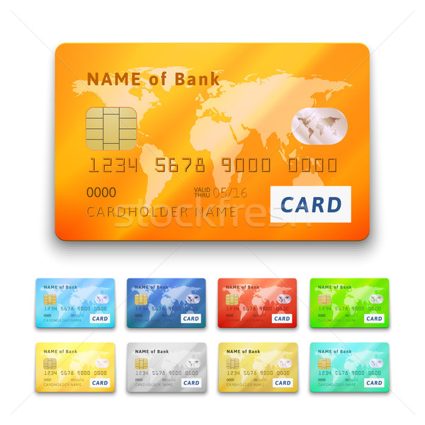Set of detailed glossy credit cards Stock photo © sidmay