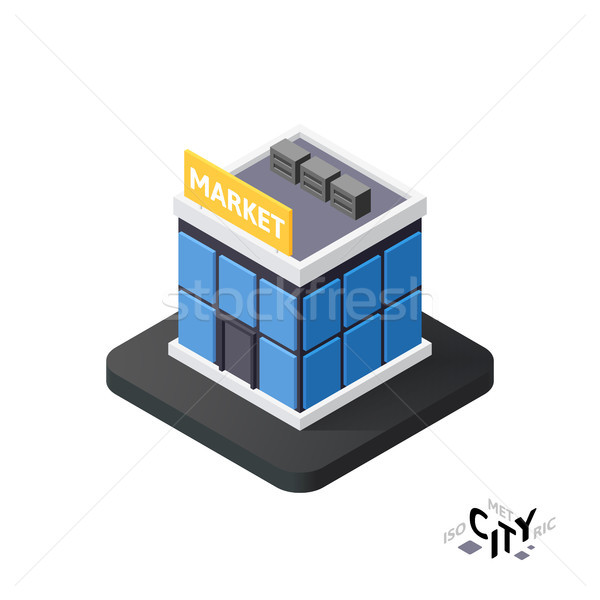 Isometric supermarket icon, building city infographic element, vector illustration Stock photo © sidmay