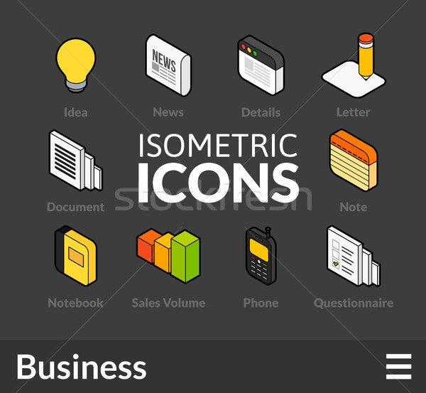 Isometric outline icons set 10 Stock photo © sidmay
